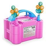 Dr.meter Bomba Eléctrica Inflar Globos, Bomba portátil de Doble Boquilla Ideal para Fiestas, Bodas, cumpleaños, Actividades promocionales y decoración de Fiestas ¿Verde y Naranja (Rosa + Azul)