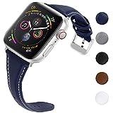 Fullmosa Sliim para Apple Watch Series 4/3/2/1 Hombres Mujeres 5 Colores Correa de Reloj de Cuero Fino y Estrecho con liberación rápida