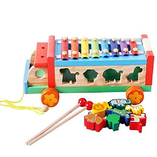 Z ZHIZU hölzernes Ziehen Spielzeug mit Formen Sortier Holz Autos Xylophon für Kinder Jungen Mädchen das Musik lernt