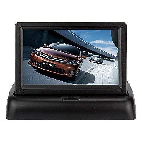 wzmirai 10,9cm Digital TFT LCD-Bildschirm Auto Rear View Faltbare Monitor für Auto Rückfahrkamera Reverse Backup Parking Kamera, CCTV DVD Kamera Unterstützung (Einfache Ir Hub)