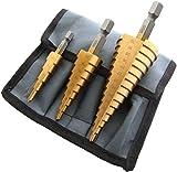 MalayasSet 3Pzas Brocas Escalonadas Taladro HSS Grandes, Enchapado de Titanio, Cortadoras de Agujeros de Diámetro de 4-12/20/32mm, para Acero Madera Plástico Metal etc, con Funda