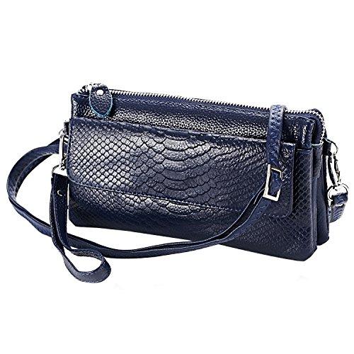 Shalwinn Borsa Crossbody borsa spalla del cuoio genuino morbida, borse a tracolla donna, Portafoglio del cinturino dell'orologio della frizione con tracolla lunga e cinturino da polso