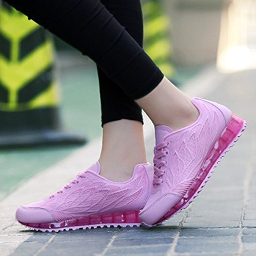 Damen Sneaker Gitter Atmungsaktiv Rutschhemmend Bequem Leicht Modisch Sportlich Schick Strapazierfähig Flach Schnürschuhe Rot