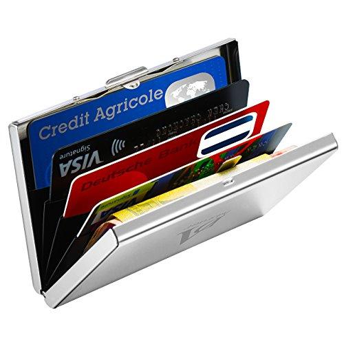 Akkordeon-card Wallet (Xintop Anti-RFID Kreditkartenetui mit Geldklammer【Neuste Version】Tragbare Kreditkartenbox Slim Wallet - RFID & NFC Schutz – Edelstahl Geldbörse für Damen und Herren, Silber)