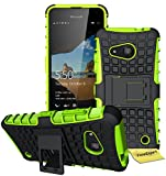 Microsoft Lumia 550 Handy Tasche, FoneExpert® Hülle Abdeckung Cover schutzhülle Tough Strong Rugged Shock Proof Heavy Duty Case für Microsoft Lumia 550 + Displayschutzfolie (Grün)