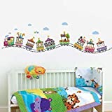 Walplus 165x50 cm Wall Stickers Circus Number Removable Self-Adhesive Mural Art Decals Vinyl Home Decoration DIY Living Bedroom Office Décor Wallpaper Kids Room Gift, Multi-colour