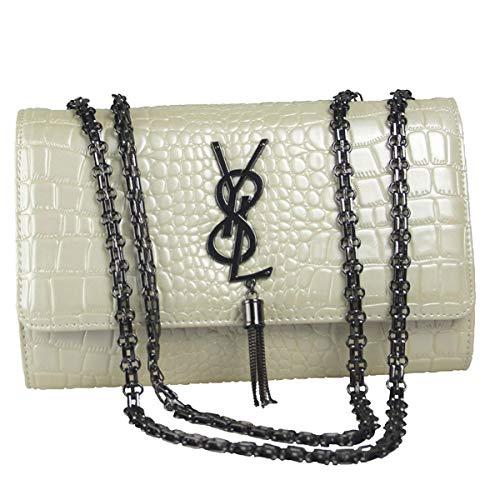 2019 Mädchen Mode Eine Schulter Crossbody Kette Python Muster Kleine Tasche Großer Raum Baby-Wickeltasche Für Frauen (26 * 7 * 17CM, Weiß 2(Y8L Logo-Leder))