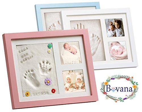 Bovana Baby Bilderrahmen Set aus Holz mit Glasfront mit Gips für Baby Fußabdruck, Handabdruck - Rosa