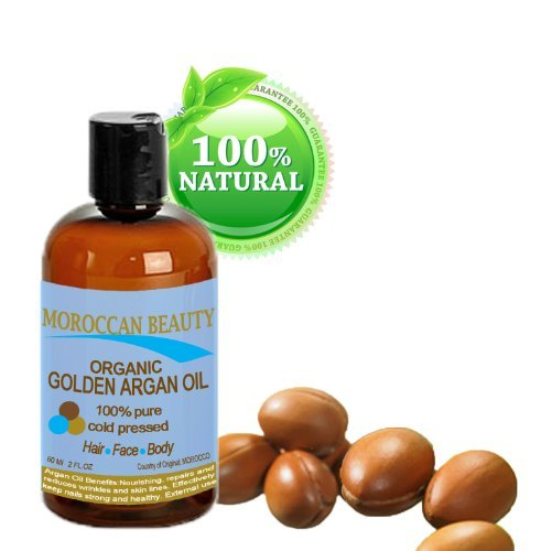 Botanical Beauty Organic Golden Argan Oil, 100% Pure, For Face, Hair, Nails And Body Moroccan Beauty 2 oz- 60 ml