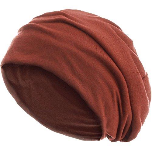 style3 Slouch Beanie aus atmungsaktivem, feinem und leichten Jersey Unisex Mütze Haube Bini Einheitsgröße, Farbe:Rost