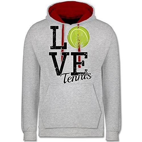 Tennis - Love Tennis - Kontrast Hoodie Grau Meliert/Rot