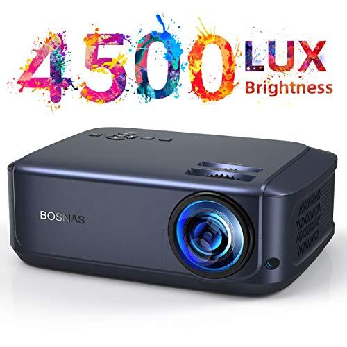 Video Beamer 50000 Stunden, unterstützt 1080P Full HD Heimkino Beamer,4500 Lumen LCD LED Projektor für Film Unterhaltung Spiele Reisen, unterstützt HDMI VGA AV USB Micro SD