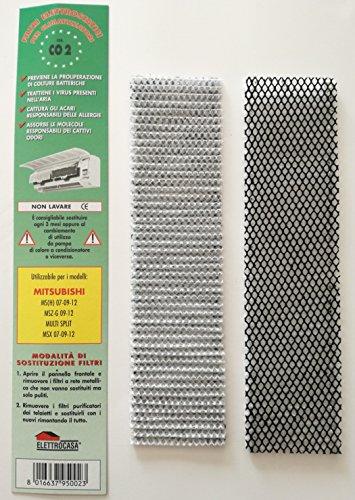 2 elektrostatische Filter für Klimaanlagen Mitsubishi MS (H) 07 09 12 MSZ-G 09 -12, Multi Split MSX 07-09-12 (Luft Mitsubishi Split)