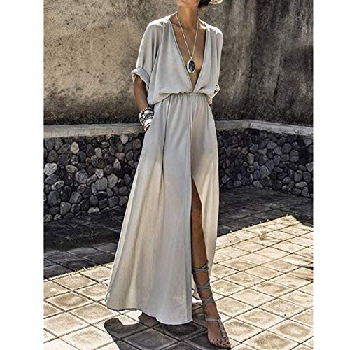 342ca255e754d LHSTWQU Summer Women Tunica Pareo Beach Dress Long Button Anteriore Aperti  Teli Kaftan Skirt Costumi da Bagno Swim Cover Up Sarong Robe De Plage A61 M  ...