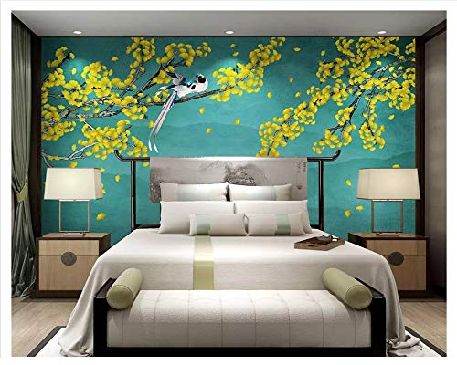 MuralXW Klassische Tapete Wandtapete Ginkgo handgemalte Neue chinesische Blume und Vogel Hintergrund Wand dekorative Malerei-280x200cm