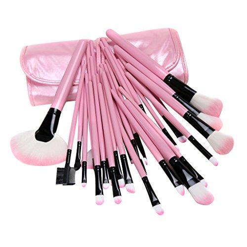 Pro 32pcs Pinceaux de Maquillage Set Cosmétique avec Pochette de Rangement Rose