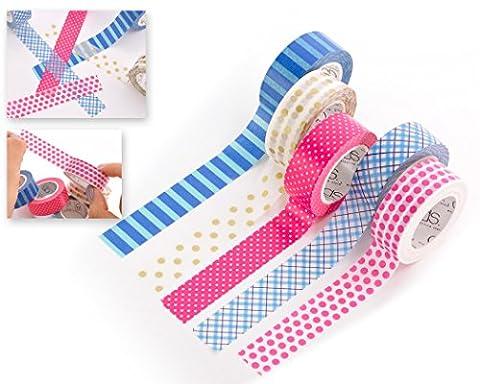 DSstyles 10M Klebstoff Kreativ Repositionierbar Scrapbooking Handwerk Stripes Japanische Abdeckbänder