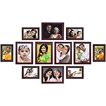 Amazon Brand - Solimo Collage Photo Frames, Set of 12,Wall Hanging (6 pcs - 4x6 inch, 6 pcs - 6x8 inch),Brown