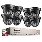 ZOSI TVI 720P 8CH DVR Enregistreur Vidéo avec 8pcs TVI 720P Caméra Dôme Intérieure * Extérieure IP66 , 65ft (20m) Vision Nocturne, 24pcs Leds IR, Contrôle à distance via 3G / 4G Smartphone, Système de Vidésorurveillance avec Disque dur 1To