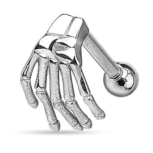 Autiga Tragus Ohr Piercing Skelett Hand Gothic Piercing Stecker Helix Cartilage Barbell Chirurgenstahl Silber