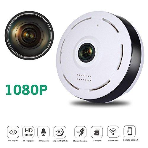 1080P WLAN IP Kamera Full HD WiFi 360° Sicherheitskamera Überwachungskamera mit Nachtsicht Bewegungserkennung Audio Home Indoor Kamera Baby Monitor Smart Sicherheitskamera