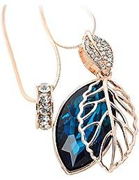 doble cadena y colgante - Modeschmuck hoja de oro Meilanty Damenschmuck Rose con el mar azul Kristal