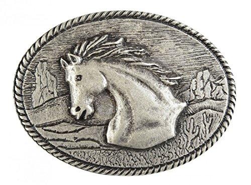 Gürtelschnalle mit Relief - Pferdebüste in der Landschaft - Wechselschliesse in edlem Design als besonderes Geschenk