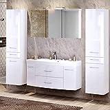 Lomadox Badezimmer Waschplatz Set in Hochglanz weiß ● 120cm Waschtisch mit Unterschrank inkl. Waschbecken ● 3D Spiegelschrank mit 2 LED-Leuchten & Steckdose ● 2 Hochschränke mit 2 Türen & Schubkasten