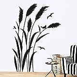 KLEBEHELD® Wandtattoo Pampasgras mit Vögel | RECHTS | Größe 114x160cm, Farbe rot