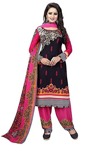 Rensila Women's Crepe Dress Material ( RFSHINY PINK DRESS_TP Dress Material_Black_Free Size...