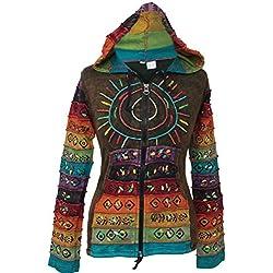 SHOPOHOLIC FASHION - Sudadera con capucha, diseño hippy con rayas, multicolor verde verde XX-Large