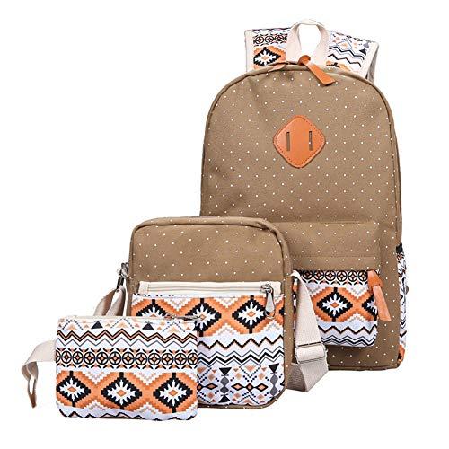yamysalad Studenten-Rucksack - dreiteilige Canvas-Tasche - College Rucksack - Polka Dot - Vintage National Style Rucksack (dreiteilige Kombination) - Khaki -