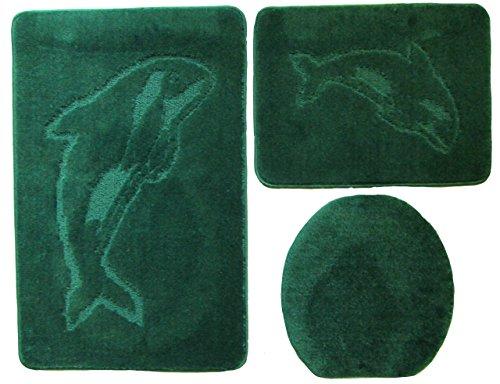 Delphin Badgarnitur 3 tlg. Set 55x85 cm Grün WC Vorleger ohne Ausschnitt für Hänge-WC