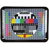 La Chaise Longue Plateau télé Mire TV Noir et multicolore Mélamine Rectangulaire 29-K1-059