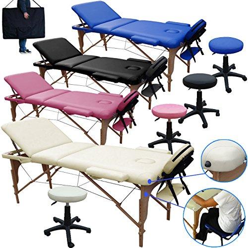 Lettino massaggio 3 zone in legno dimensione 195/225 x 70 cm + sgabello regolabile in altezza + borsa per lettini da massaggi portatile - pannello reiki - angoli arrotondati e rinforzati - panna