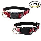 Newtensina Mode 2 Stück Hundehalsband Set Weiches Muster Flagge Muster Leinwand Welpen Halsbänder für Hunde
