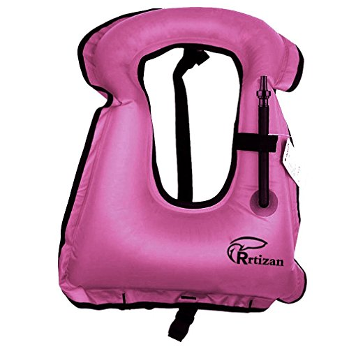Rrtizan Adulte Unisexe Portable gonflable sur toile Gilet de sauvetage pour tuba pour plongée de sécurité Large rose