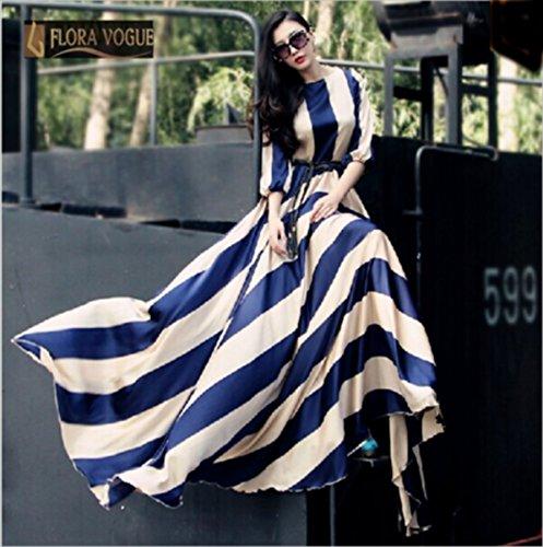 Robe longue raye bleu et blanc