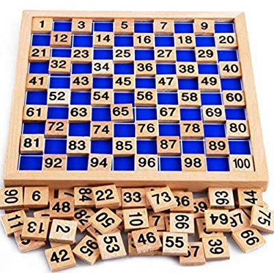NNY Wooden Toys Hundred Board Montessori 1-100 Consecutive Numbers Wooden Educational Game for Kids with Storage Bag,W8.26 L8.26inches by NNY Inc