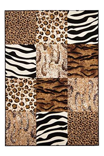 One Couture - Alfombra de Patchwork, diseño de Cebra, Estampado de Leopardo, Color Beige y marrón, 100% Polipropileno, 80 x 150 cm