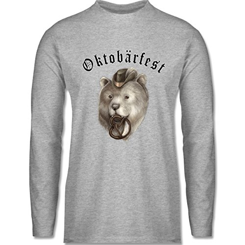 Shirtracer Oktoberfest Herren - Oktobärfest - Herren Langarmshirt Grau Meliert