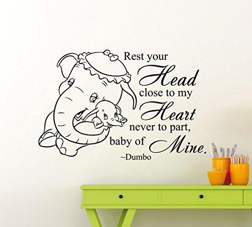 (43SabrinaGill Dumbo Elefant Zitat Wand Aufkleber Vinyl Aufkleber Tier Home Kinder Mädchen Jungen Kinderzimmer sauber, Art Decor Abnehmbare Wandbild)