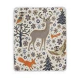 Wamika Decke mit Cartoon-Eulen-Motiv, weich, warm, Eichhörnchen, Vögel, Bäume und Schneeflocken, für Bett Couch Sofa, leicht, für Reisen, Camping, 152,4 x 127 cm