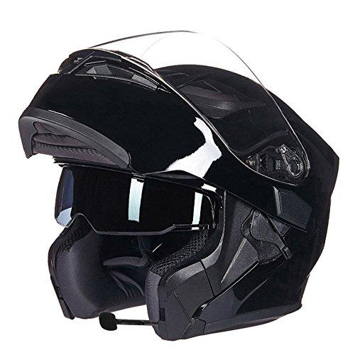 MERRYHE Unisex Offroad Motocross Modular Flip up Anti-Fog Doppelscheiben Helm Radfahren BMX Motorrad Full-Face Helme mit Zwei Spezifikationen,Black/Bluetooth-XL(60-62cm) (Full-face Bmx Helme)