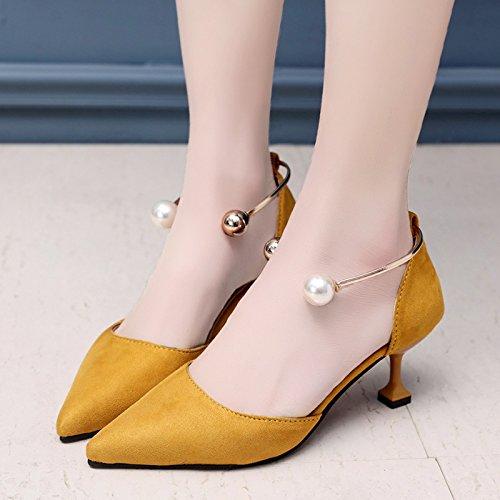 RUGAI-UE A l'été chaussures sandales creux High-Heeled Pearl Chaussures femmes Yellow
