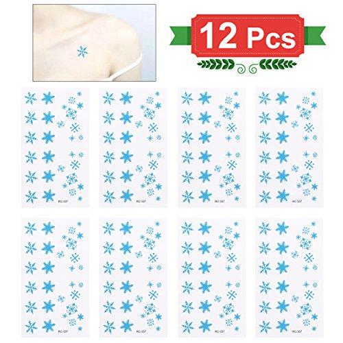 Tinksky 12 STÜCKE Weihnachten Temporäre Tattoo Aufkleber Blätter Wasserdichte Einweg Körper Kunst Aufkleber Für Kinder Und Erwachsene Mixed Schneeflocken Muster