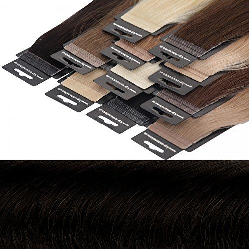 Tape In Extensions 40 cm Virgin Echthaar 10er Set Haarverlängerung Haarteile in schwarz