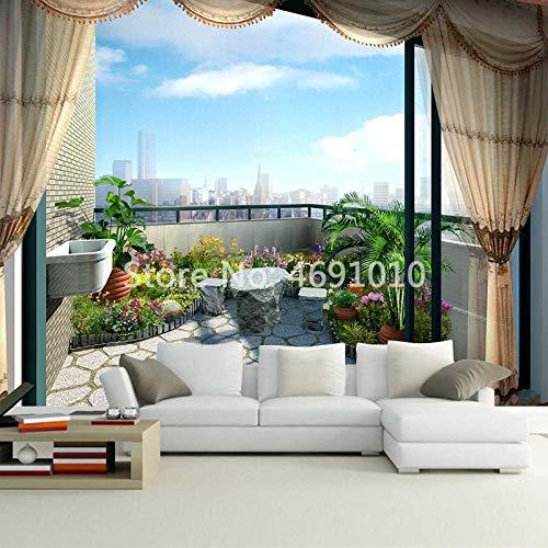 Für Schlafzimmer Wände Im Freien Der Balkon/Blick Auf Die Stadt Wandbild Tapete 3D Wohnzimmer Wohnkultur-200x140_cm_ (78.7_por_55.1_in) ()