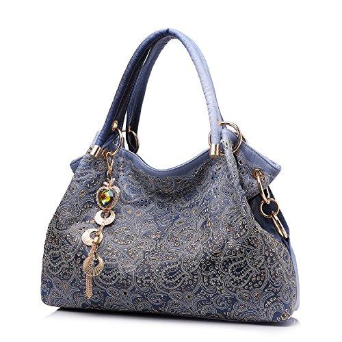 Realer Damen Handtaschen Aushöhlen Blume Tote bag Hobo Taschen mit Reißverschluss Lila