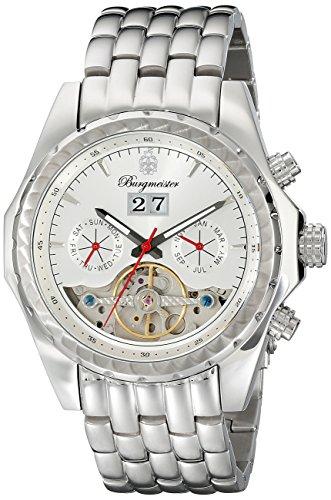 Burgmeister Armbanduhr für Herren mit Analog Anzeige, Automatik-Uhr mit Edelstahl Armband - Wasserdichte Herrenuhr mit zeitlosem, schickem Design - klassische Uhr für Männer - BM137-111 Valencia